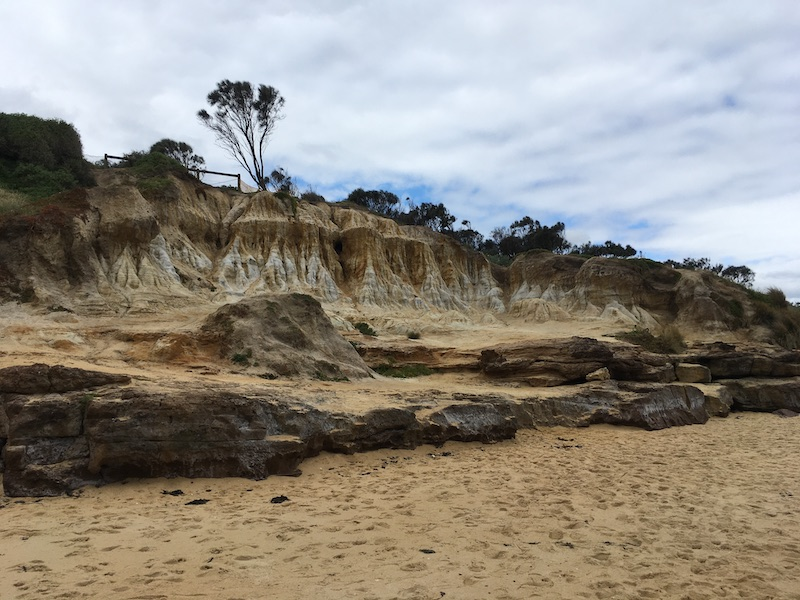 different view of some short cliffs seen from below on the beach