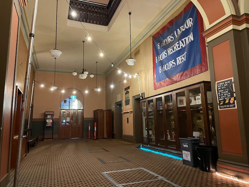 a shot of the main first-floor hall in Trades Hall